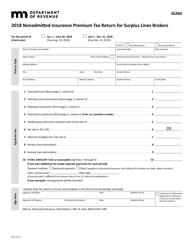 "Form IG260 ""Nonadmitted Insurance Premium Tax Return for Surplus Lines Brokers"" - Minnesota, 2018"