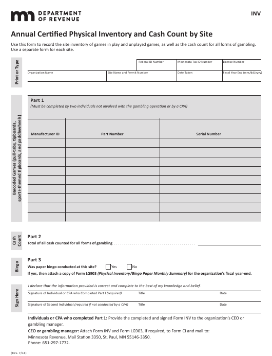 sports physical form mn  Form INV Download Fillable PDF or Fill Online Annual ...