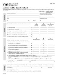"Form PDR-1AV ""Aviation Fuel Tax Claim for Refund"" - Minnesota"