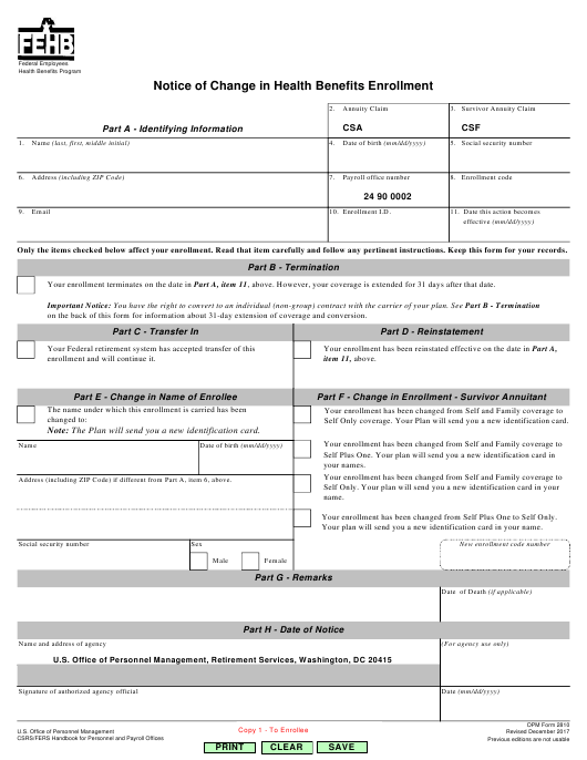 OPM Form 2810 Printable Pdf