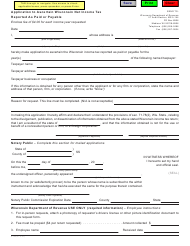 Form P-100 Application to Ascertain Wisconsin Net Income Tax Reported as Paid or Payable - Wisconsin