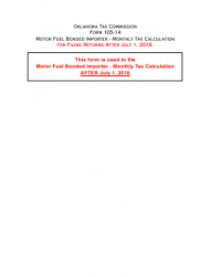 Form DST-214 Form 105-14 - Motor Fuel Bonded Importer - Monthly Tax Calculation - Oklahoma