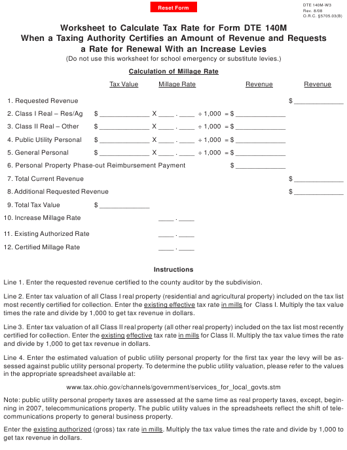 Form DTE140M-W3  Printable Pdf