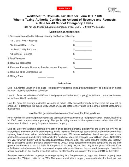 Form DTE140M-W4 Printable Pdf