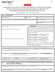 Form ET 13 Application for Consent to Transfer the Proceeds of Insurance Contracts, Employer Death Benefits and Retirement Plans for Resident and Nonresident Decedents - Ohio