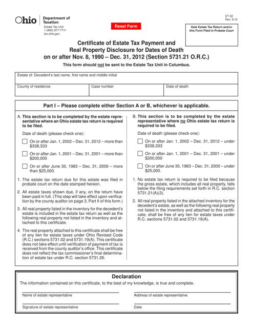 Form ET22  Printable Pdf