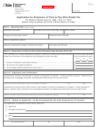 Form ET 41 Application for Extension of Time to Pay Ohio Estate Tax - Ohio