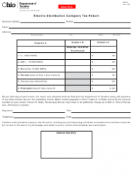 Form KWH 2 Electric Distribution Company Tax Return - Ohio