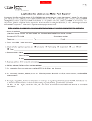 Form MF 204 Application for License as a Motor Fuel Exporter - Ohio