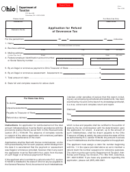 Form SV 4 Application for Refund of Severance Tax - Ohio