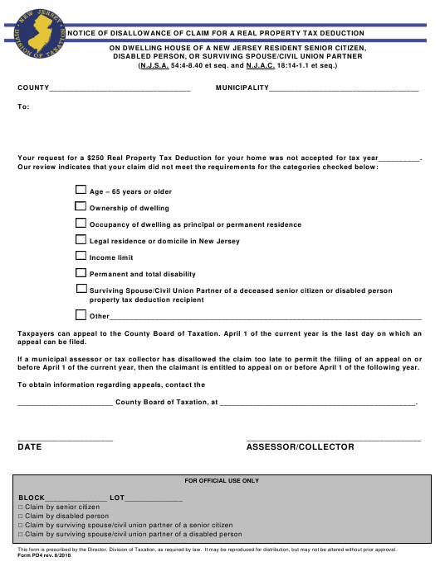 Form PD4  Printable Pdf