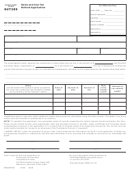 Form COM/ST-205 Form Sut205 - Sales and Use Tax Refund Application - Maryland