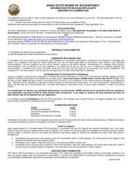 Re-exam Application Form - Uniform Cpa Examination - Idaho