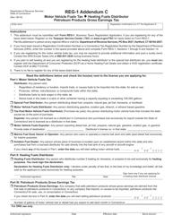 Form REG-1 Addendum C - Motor Vehicle Fuels Tax/ Heating Fuels Distributor/ Petroleum Products Gross Earnings Tax - Connecticut