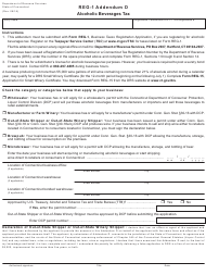 "Form Reg-1 Addendum D ""Alcoholic Beverages Tax"" - Connecticut"