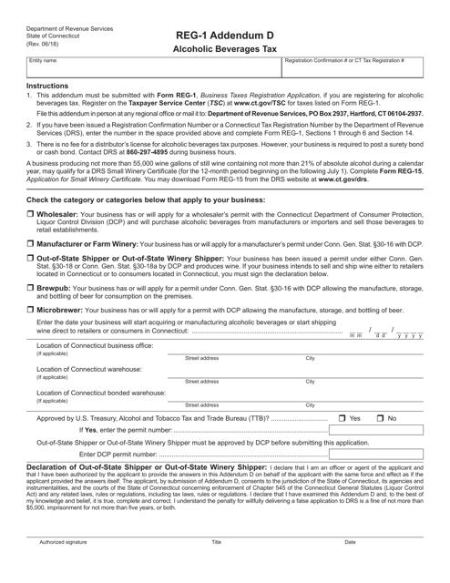 Form REG-1 Addendum D  Printable Pdf