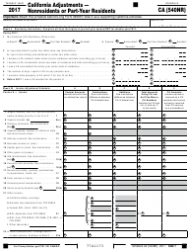 Form 540NR 2017 Schedule Ca - California Adjustments - Nonresidents or Part-Year Residents - California