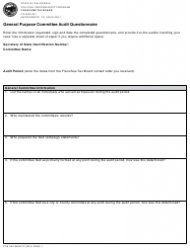 Form 780 General Purpose Committee Audit Questionnaire - California