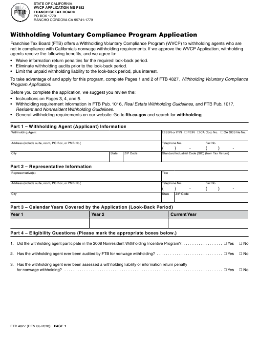 Form 4827 Download Fillable Pdf Withholding Voluntary