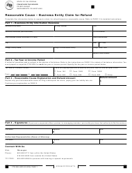 Form 2924 Reasonable Cause - Business Entity Claim for Refund - California