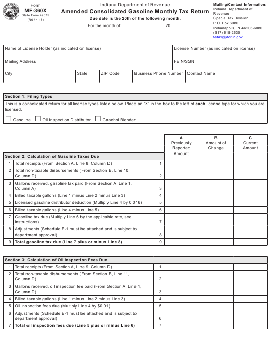 State Form 49875 Fillable Pdf