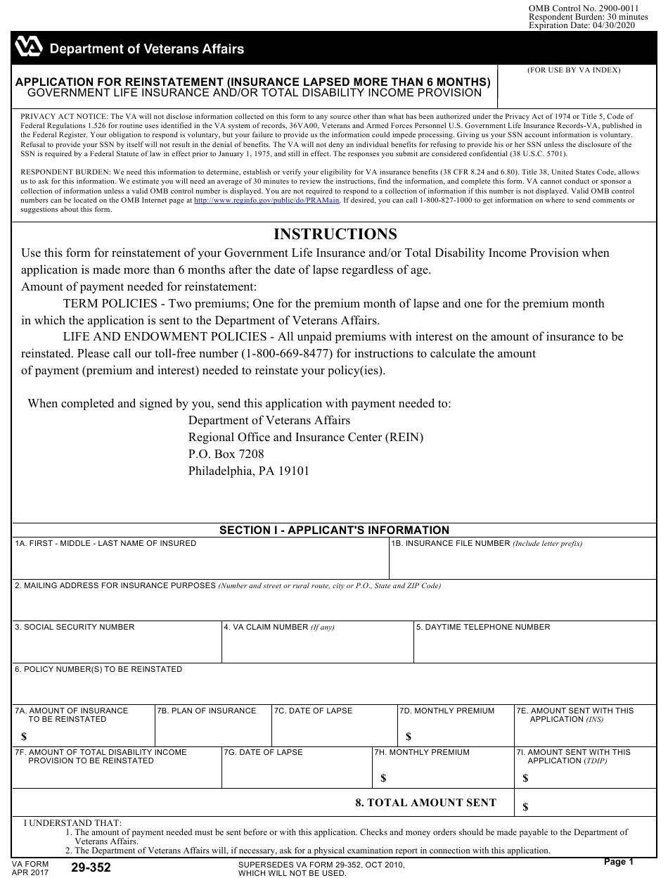VA Form 29-352 Download Fillable PDF or Fill Online ...