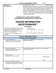 """NRC Form N-75 """"Iaea Design Information Questionnaire - Isotopic Enrichment Plants"""""""