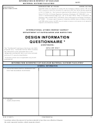 """NRC Form N-91 """"Iaea Design Information Questionnaire - Information in Respect of Nuclear Material Outside Facilities"""""""