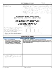 "NRC Form N-74 ""Iaea Design Information Questionnaire - Reprocessing Plants"""