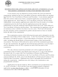 """T.C. Form 18-A """"Application for Admission to Practice for Non-attorneys"""""""