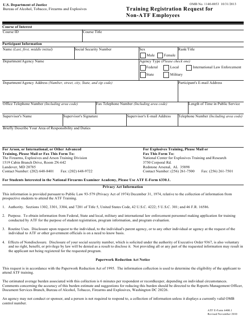 ATF Form 6400.1 Fillable Pdf