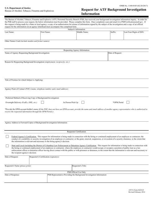 ATF Form 8620.65 Printable Pdf