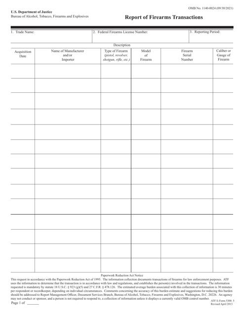 ATF Form 5300.5 Fillable Pdf