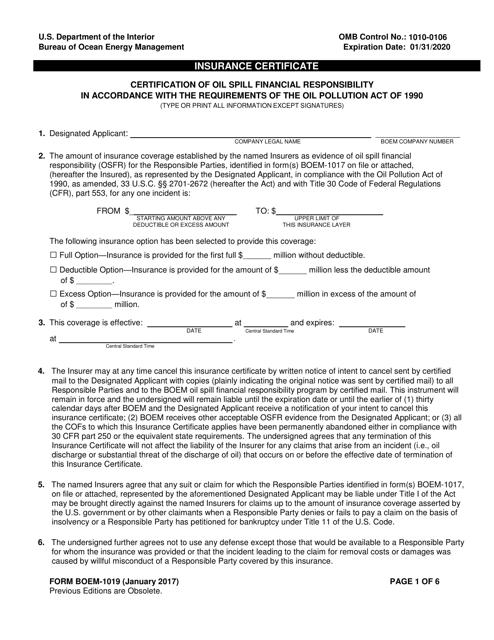 Form BOEM-1019  Printable Pdf