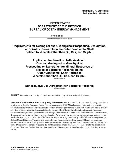 Form BOEM-0134  Printable Pdf