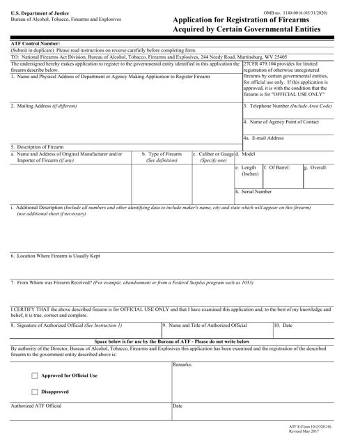 ATF Form 10 Printable Pdf