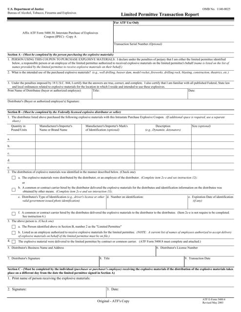 ATF Form 5400.4 Fillable Pdf