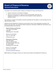 "Form BFR-003 ""Petition Form"" - Pennsylvania"