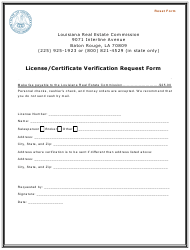 """License/Certificate Verification Request Form"" - Louisiana"