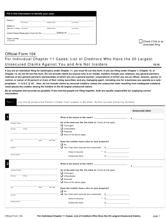 Official Form 104  Printable Pdf