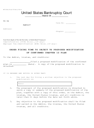 "Form B2310A ""Order Fixing Time to Object to Proposed Modification of Confirmed Chapter 12 Plan"""