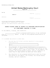 "Form B2310B ""Order Fixing Time to Object to Proposed Modification of Confirmed Chapter 13 Plan"""
