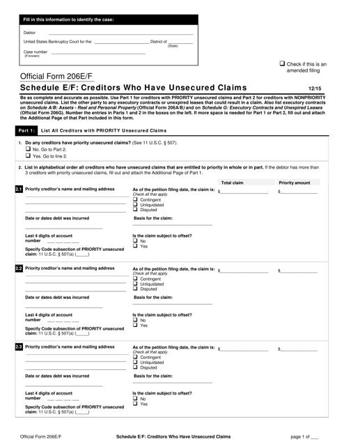 Official Form 206E/F Download Printable PDF, Schedule E/F