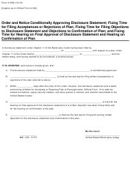 "Form B3130S ""Order Conditionally Approving Disclosure Statement"""