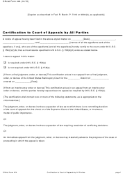"Official Form 424 ""Certification to Court of Appeals by All Parties"""