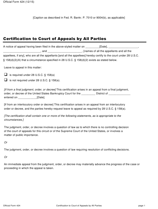 Official Form 424  Printable Pdf