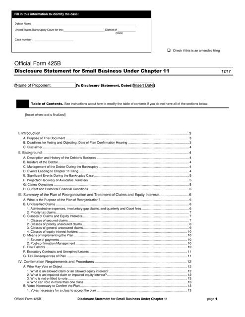 Official Form 425B  Printable Pdf
