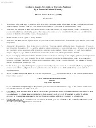 """Form AO243 """"Motion Under 28 U.s.c. 2255 to Vacate, Set Aside, or Correct Sentence by a Person in Federal Custody"""""""