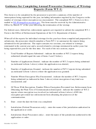 """Instructions for Form WT-1 """"Annual Prosecutor Summary of Wiretap Reports"""""""