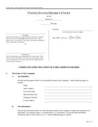 Form Pro Se 8 Complaint for Violation of Fair Labor Standards